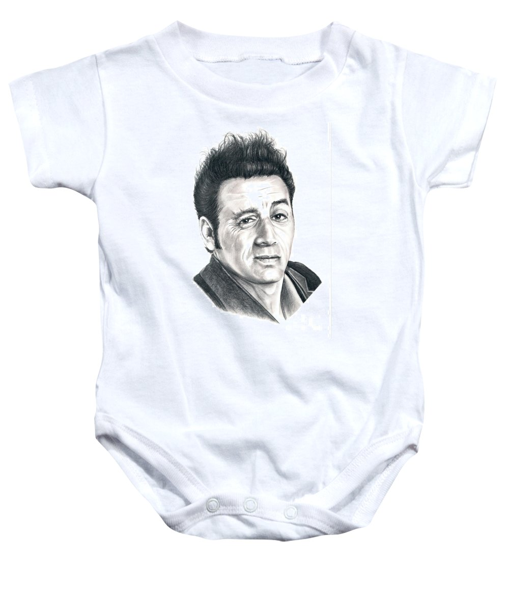 Pencil Baby Onesie featuring the drawing Michael Richards Cosmo Kramer by Murphy Elliott