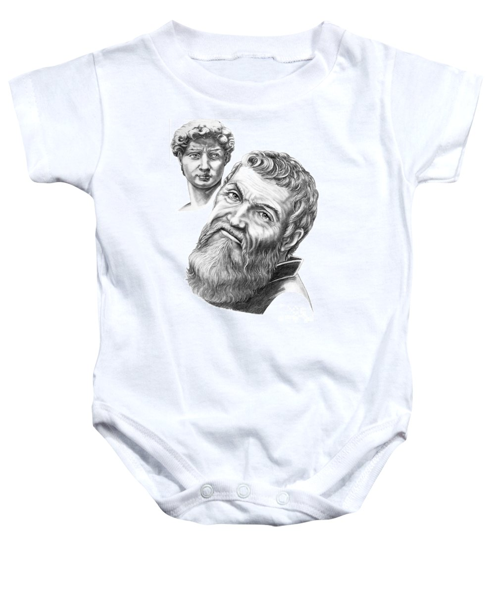 Michelangelo Baby Onesie featuring the drawing Michelangelo And David by Murphy Elliott