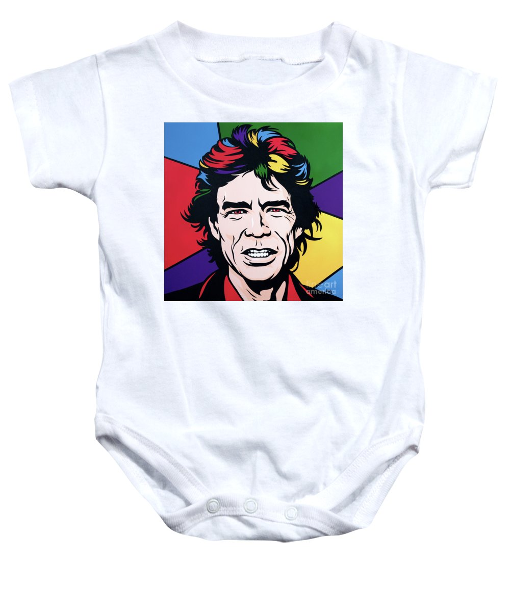 Pop Art Baby Onesie featuring the painting Mick Jagger by James Lee