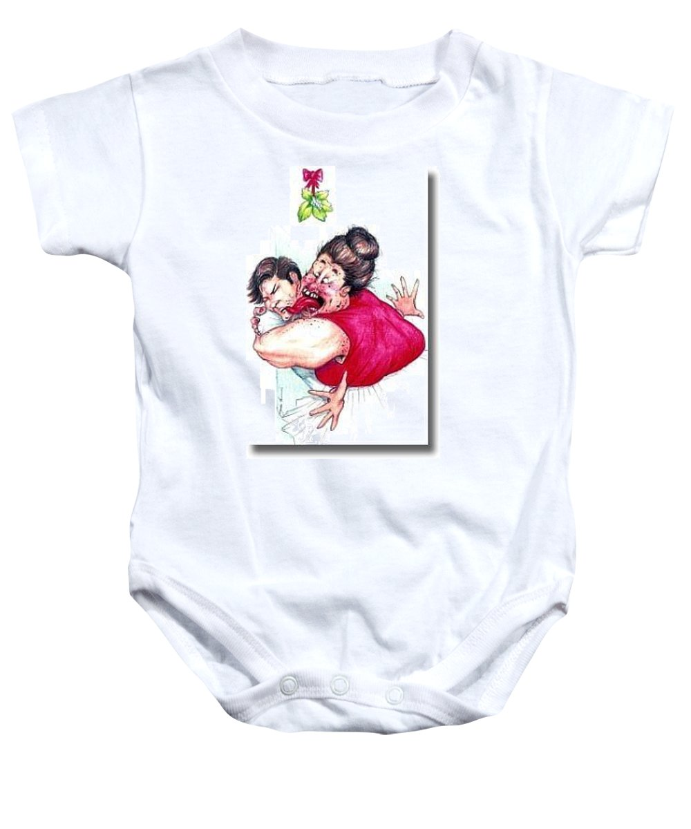 Humor Get Even Baby Onesie featuring the drawing Misletoe by Bruce Lennon