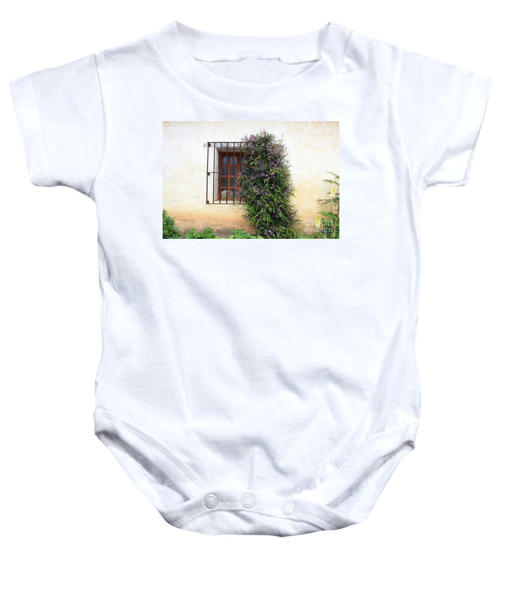 Purple Flowers Baby Onesie featuring the photograph Mission Window With Purple Flowers by Carol Groenen