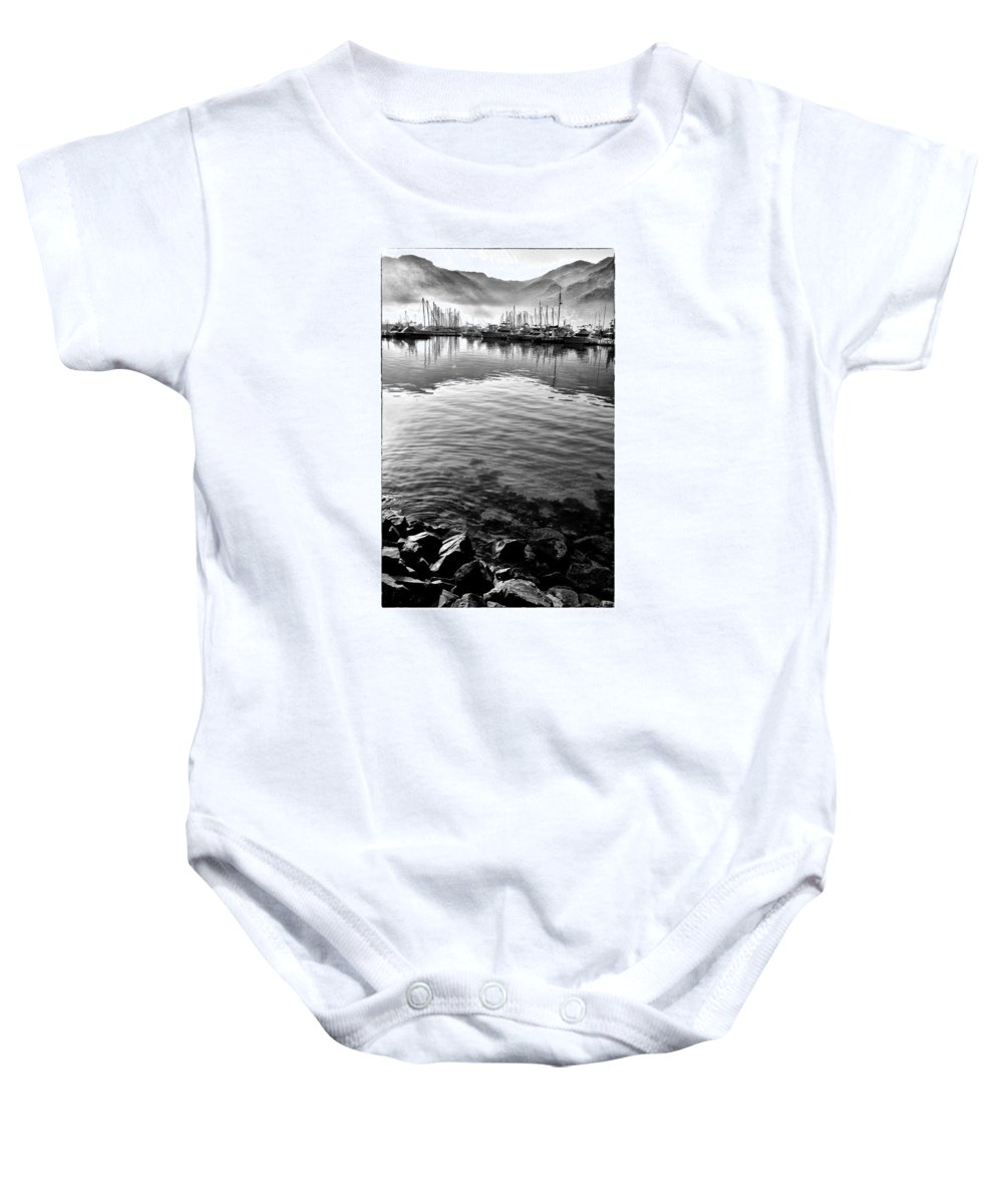 Water Baby Onesie featuring the pyrography Misty Harbor by Robert Ploen