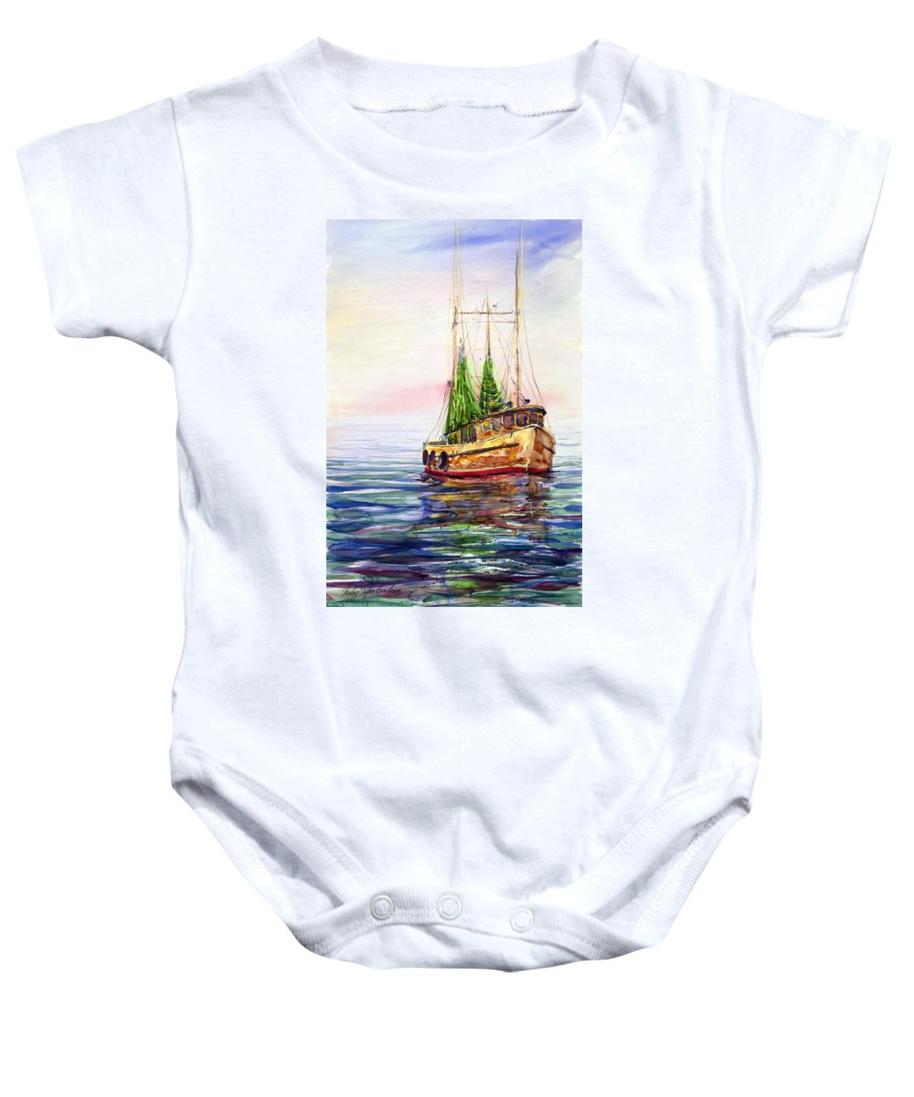 Shrimp Boat Baby Onesie featuring the painting Misty In The Morning by Shirley Sykes Bracken