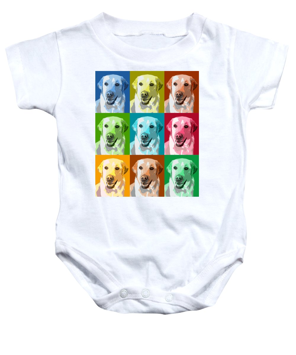 Americana Baby Onesie featuring the photograph Golden Retriever Warhol by Marilyn Hunt