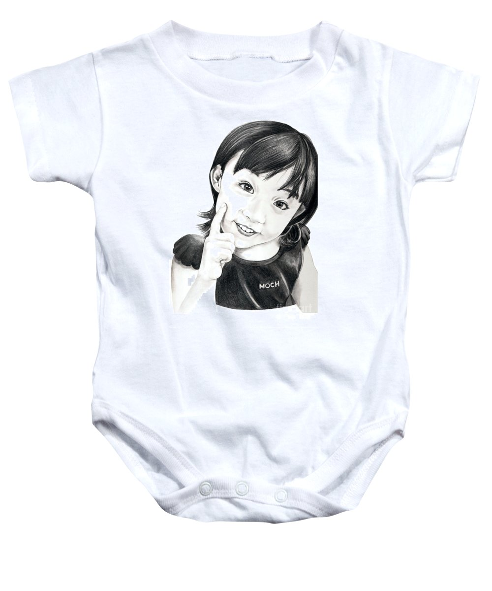 Pencil Baby Onesie featuring the drawing Moch by Murphy Elliott