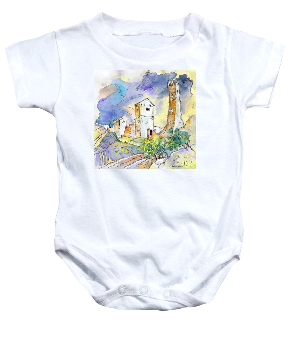 Travel Sketch Baby Onesie featuring the painting Molina De Aragon Spain 01 by Miki De Goodaboom
