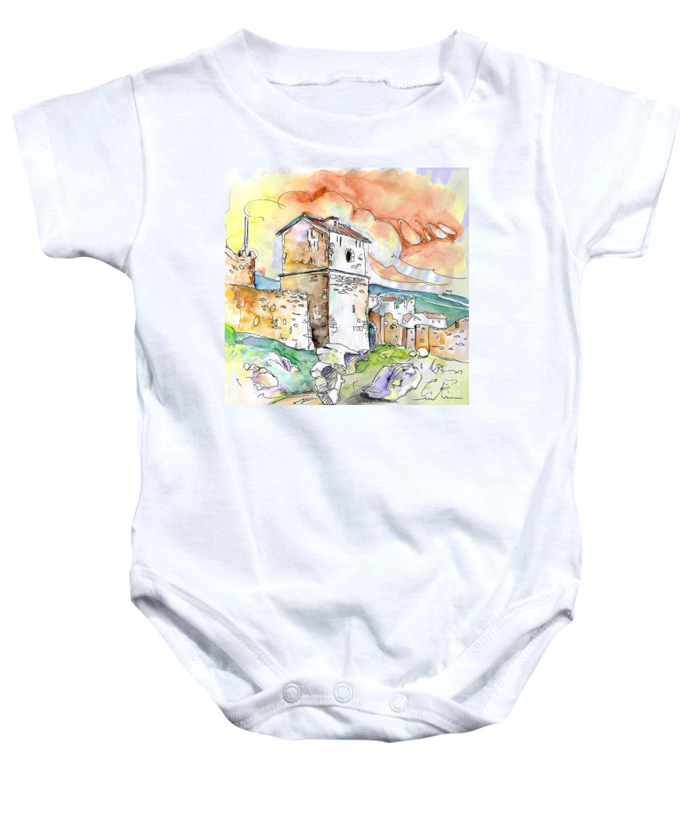 Travel Sketch Baby Onesie featuring the painting Molina De Aragon Spain 02 by Miki De Goodaboom