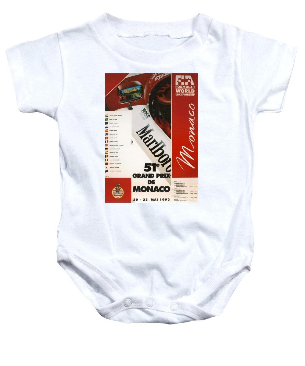 Monaco Grand Prix Baby Onesie featuring the digital art Monaco F1 1993 by Georgia Fowler