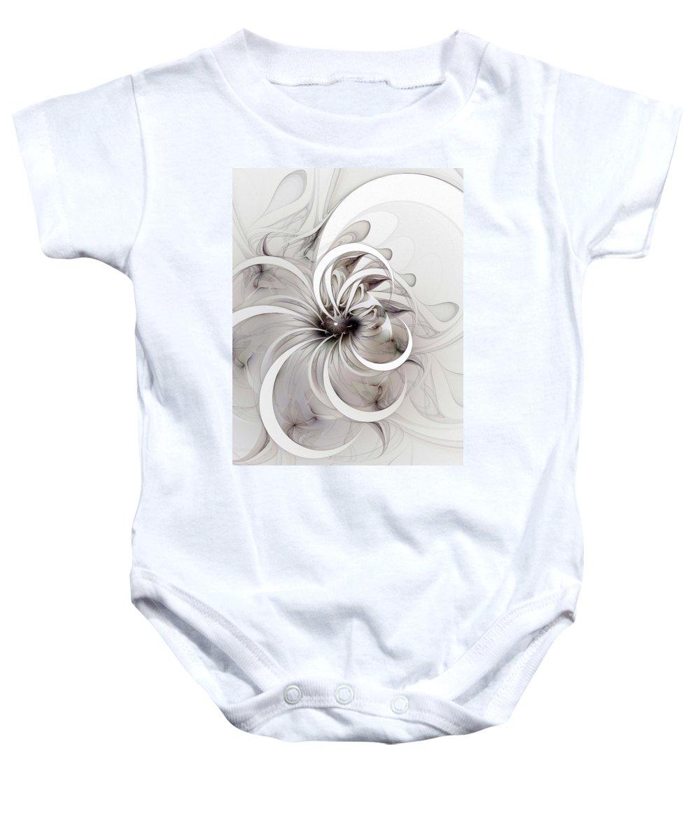 Digital Art Baby Onesie featuring the digital art Monochrome Flower by Amanda Moore