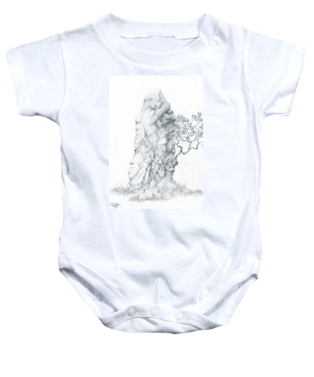 Megalith Baby Onesie featuring the drawing Monolith 2 by Curtiss Shaffer