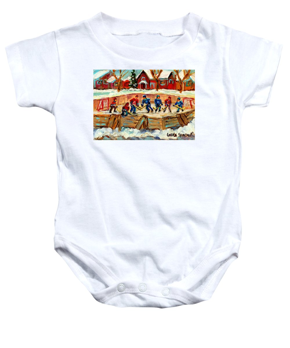 Montreal Baby Onesie featuring the painting Montreal Hockey Rinks Urban Scene by Carole Spandau