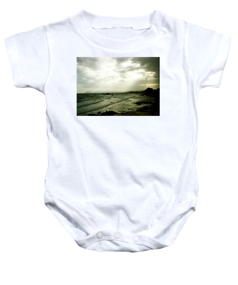 Moody Sky Baby Onesie featuring the photograph Moody Sky by Catt Kyriacou