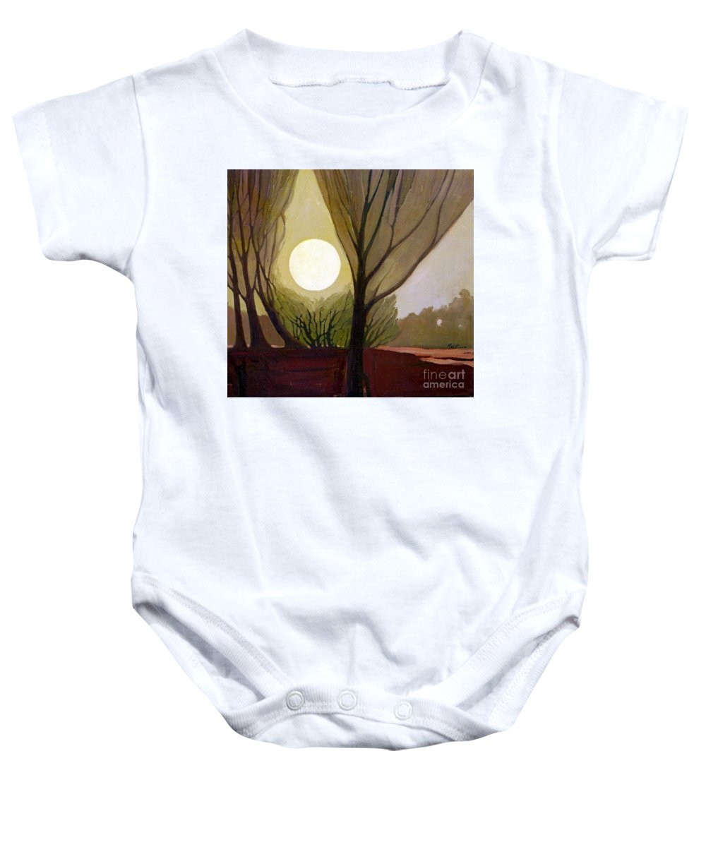 Dreamscape Baby Onesie featuring the painting Moonlit Dream by Donald Maier