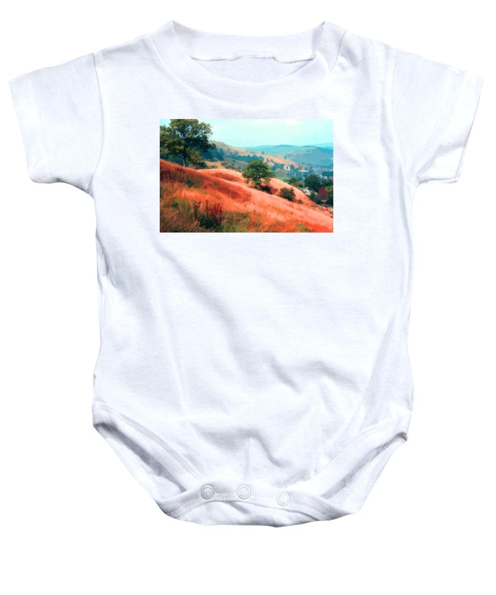 Yorkshire Landscape Baby Onesie featuring the photograph Moorland Hillside by Elizabetha Fox