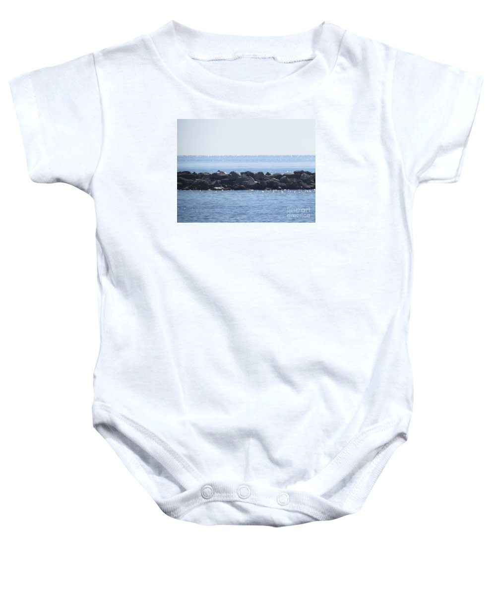 Laughing Gull Baby Onesie featuring the photograph Morning Flight by Charles Green
