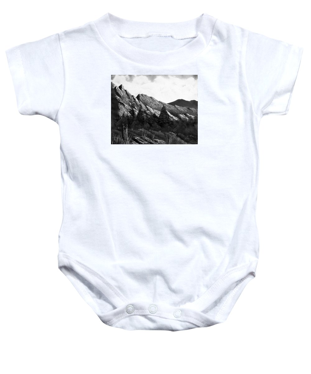 Black And White Baby Onesie featuring the painting Morning Meadow Dew In Black And White by Claude Beaulac