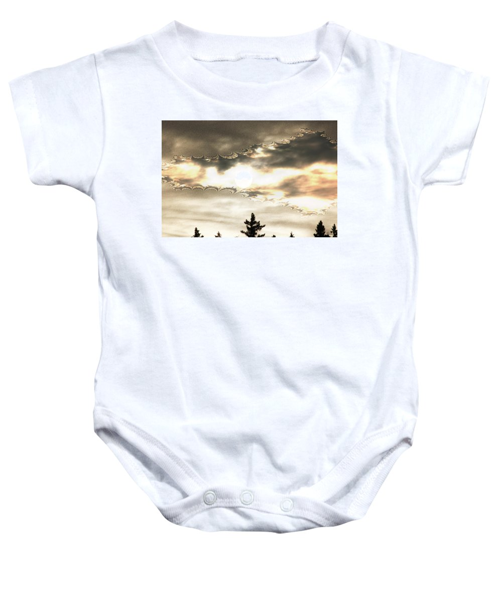 Moon Sky Trees Abstract Forest Wild Portal Clouds Gold Fractal Baby Onesie featuring the digital art Morning Moon by Andrea Lawrence