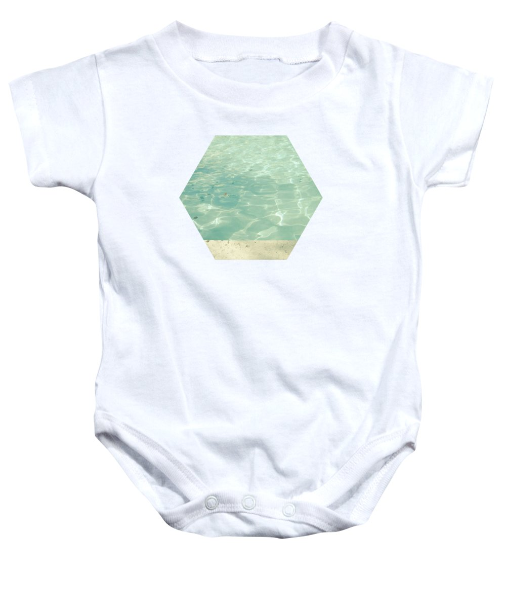 Swimming Pool Baby Onesie featuring the photograph Morning Swim by Cassia Beck