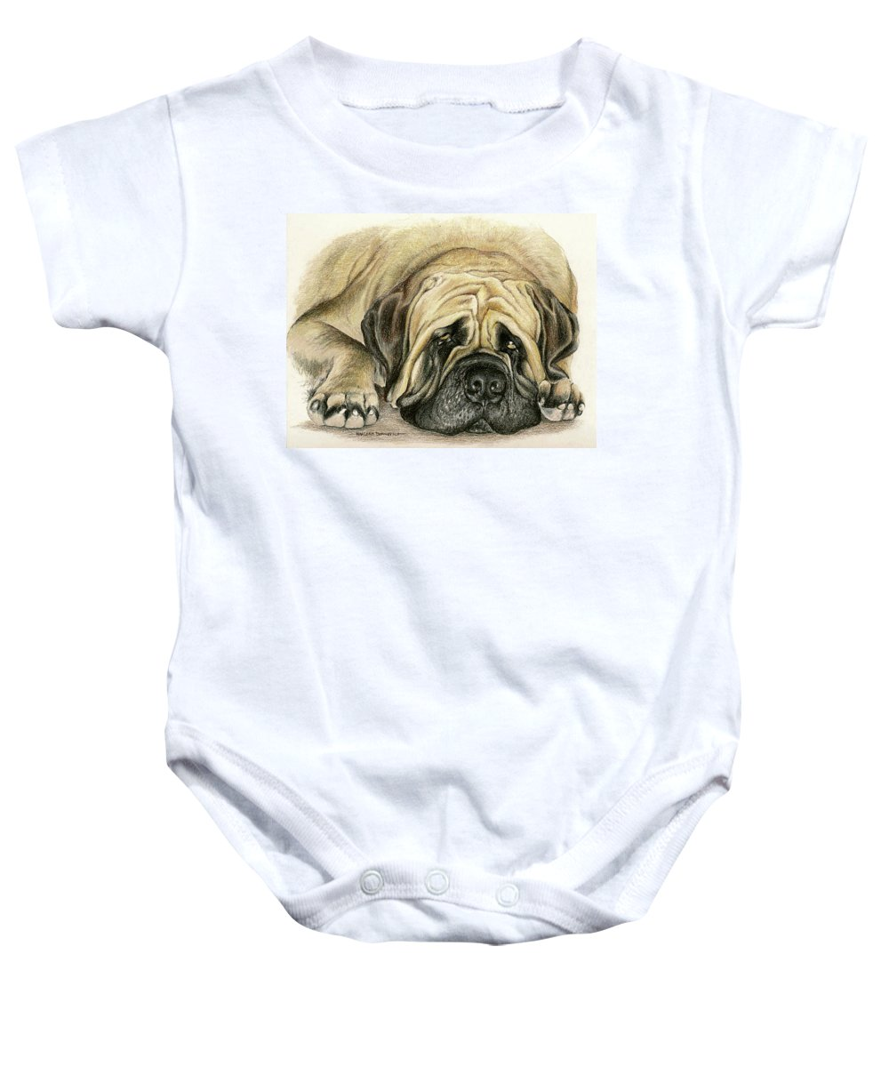 Dogs Baby Onesie featuring the drawing Moses by Marlene Bonneville