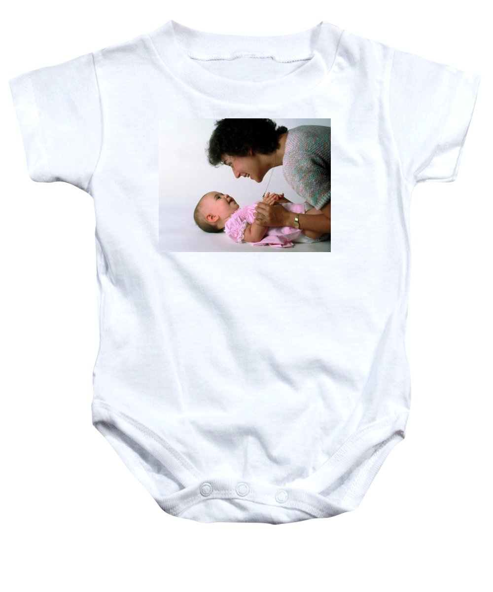 Mother Baby Onesie featuring the photograph Mother And Baby Girl Smiling by Sally Weigand