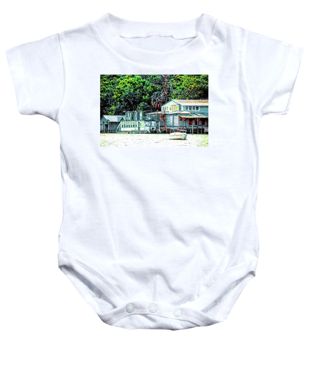 Alicegipsonphotoraphs Baby Onesie featuring the photograph Mount Dora Lakeside by Alice Gipson