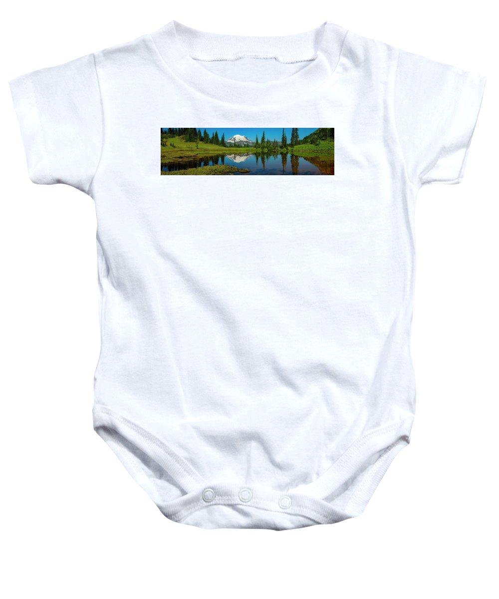 Mount Rainier Baby Onesie featuring the photograph Majestic Reflection - Mount Rainier - 2 by Michael Sedam