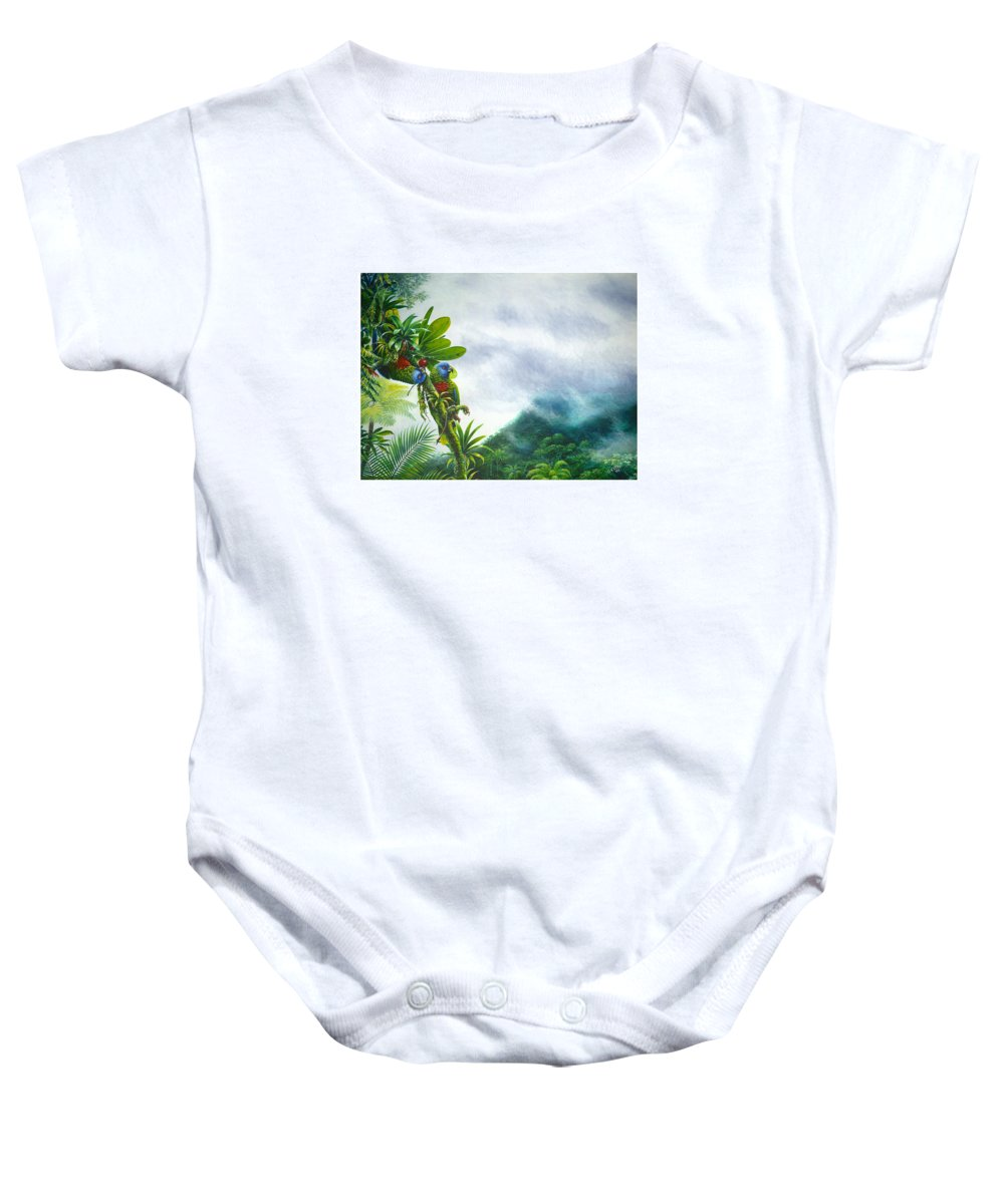 Chris Cox Baby Onesie featuring the painting Mountain High - St. Lucia Parrots by Christopher Cox
