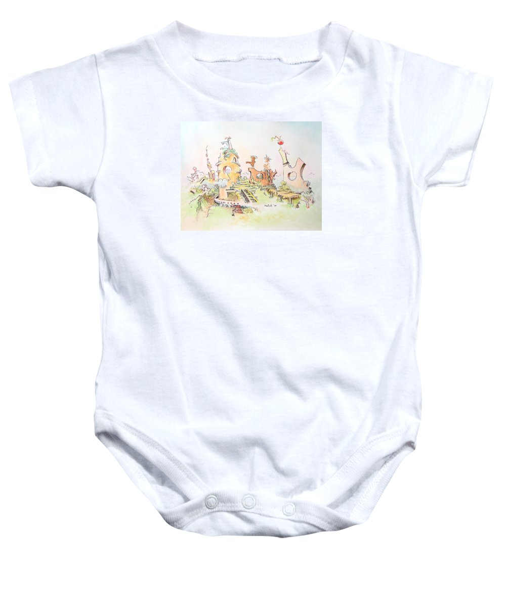 Landscape Baby Onesie featuring the painting Mountain Retreat by Dave Martsolf