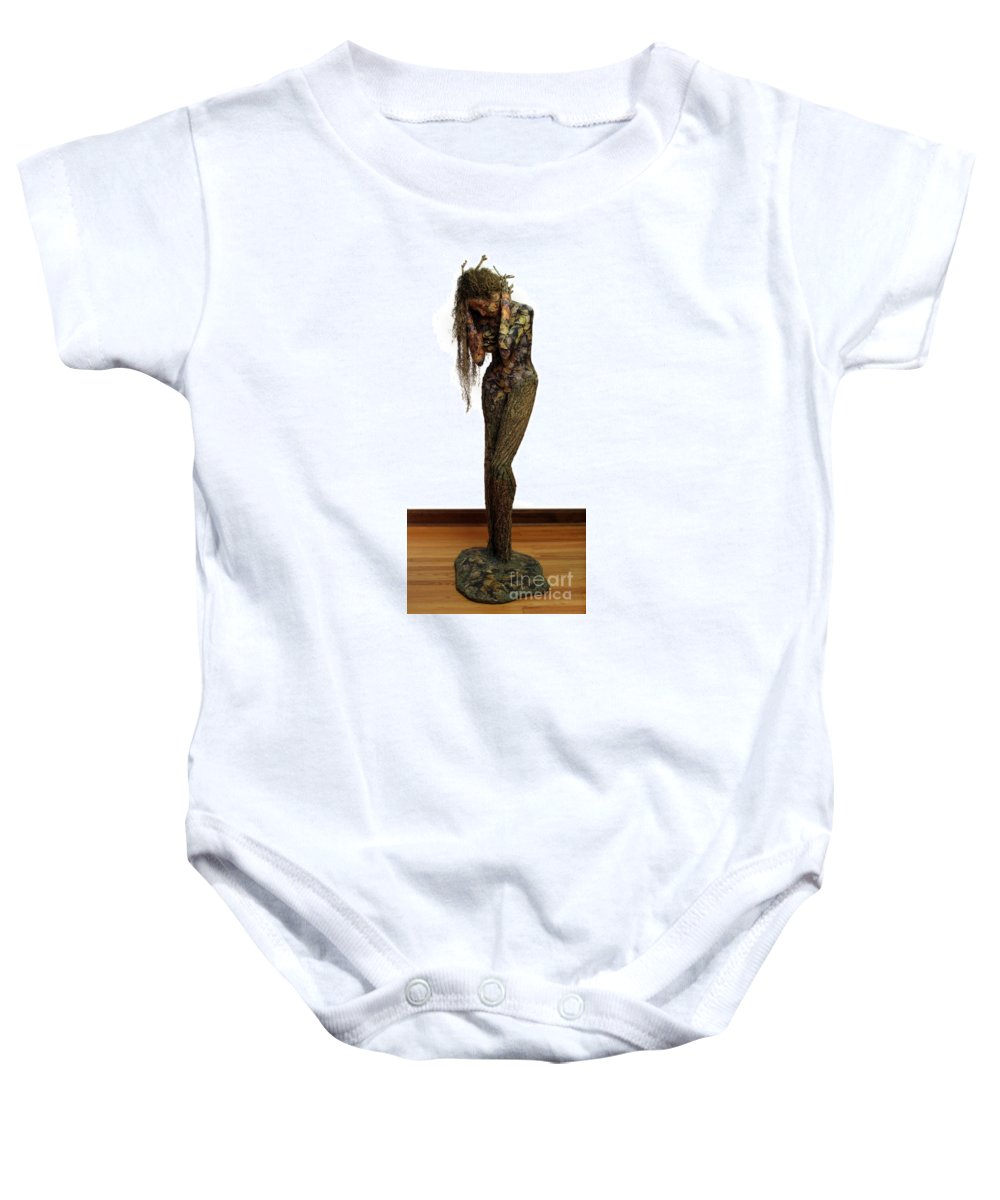 Art Baby Onesie featuring the mixed media Mourning Moss A Sculpture By Adam Long by Adam Long