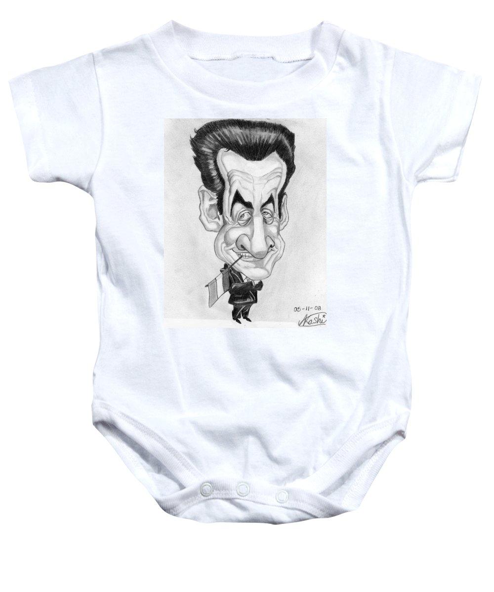 Mr Nicolas Sarkozi Baby Onesie featuring the drawing Mr Nicolas Sarkozi Caricatur Portrait by Alban Dizdari