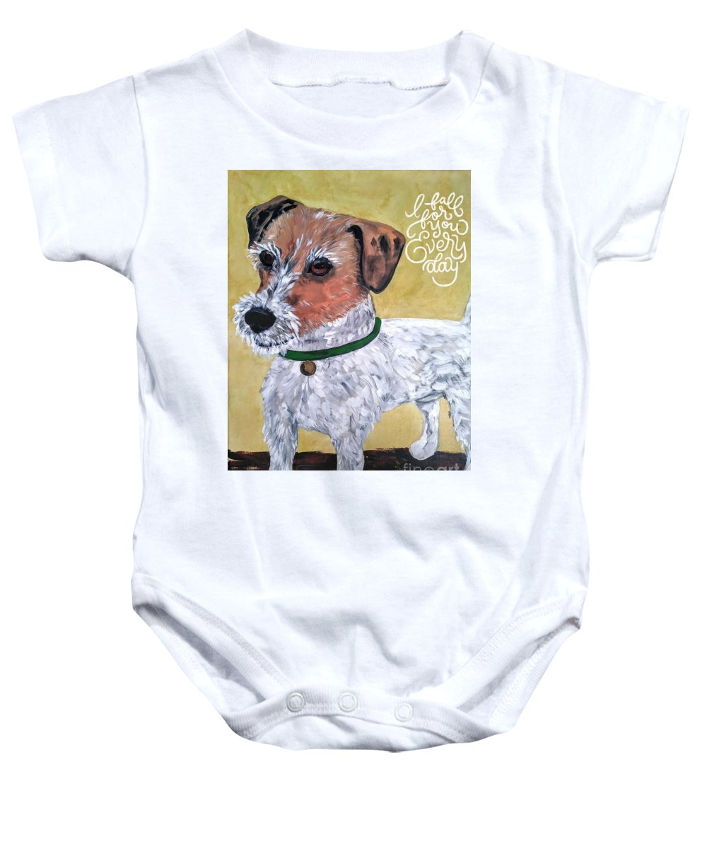 Dogs Baby Onesie featuring the painting Mr. R. Terrier by Reina Resto