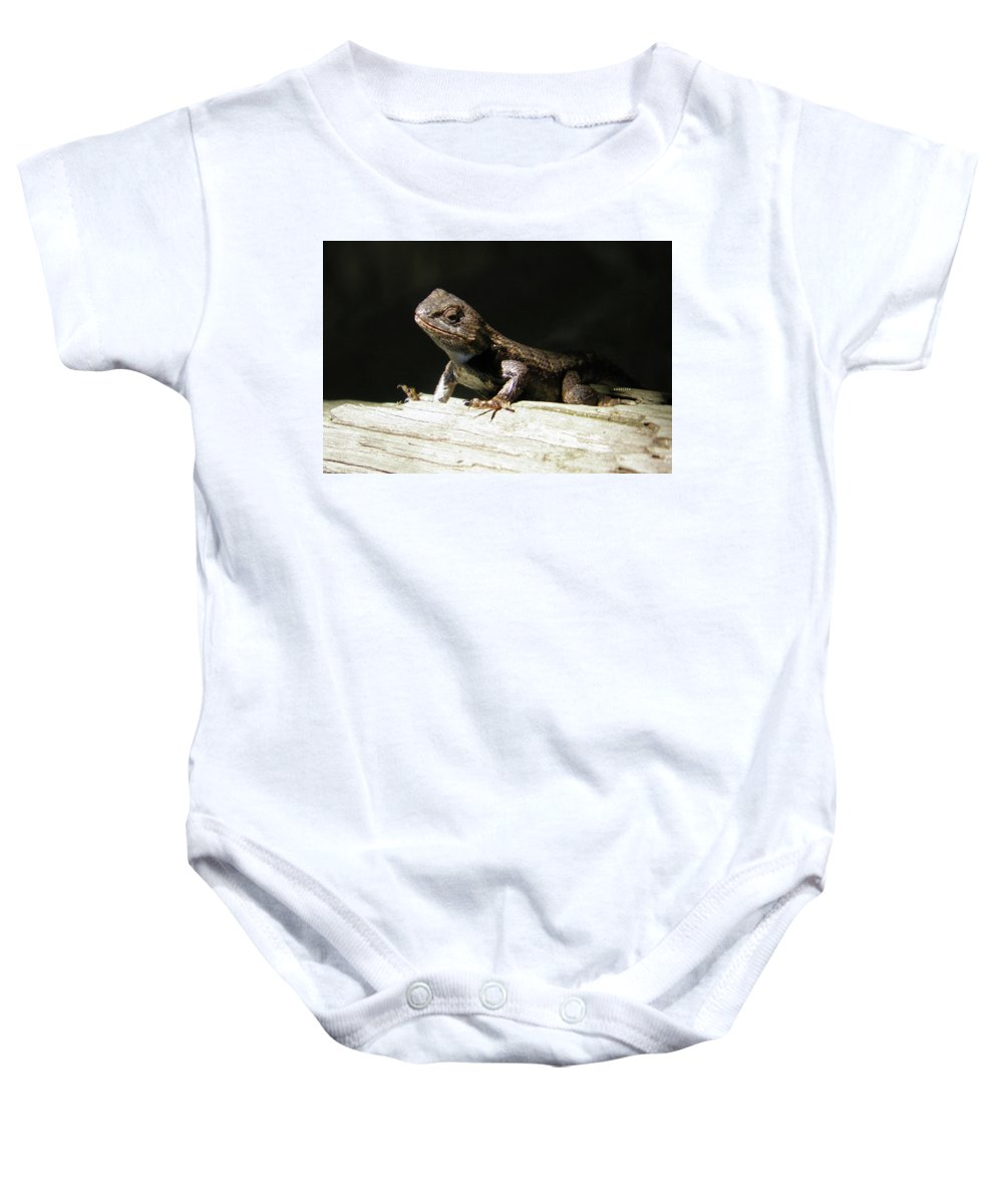 Lizards Baby Onesie featuring the photograph Ms. Liz by Angelcia Wright