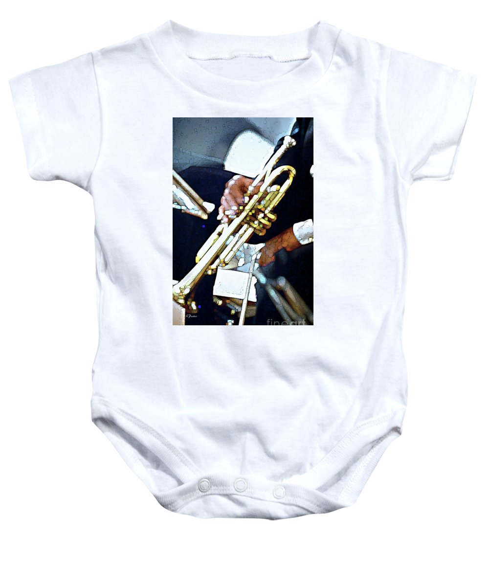 Abstract Baby Onesie featuring the photograph Music Man Trumpet by Linda Parker