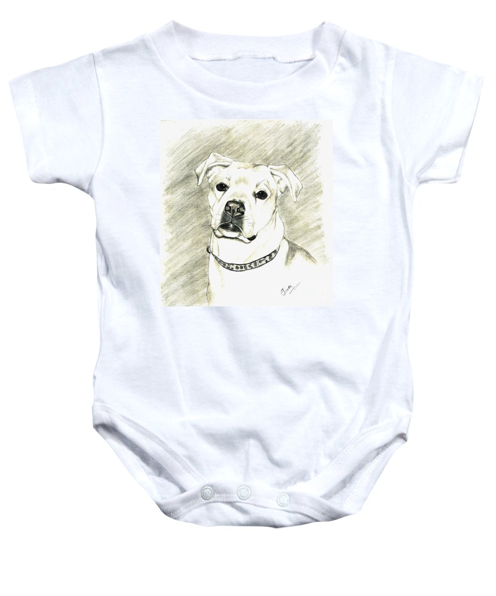 Pet Portrait Baby Onesie featuring the drawing My Bella by Joette Snyder