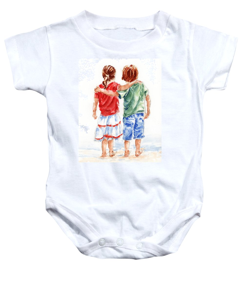 Watercolour Baby Onesie featuring the painting My Friend by Stephie Butler