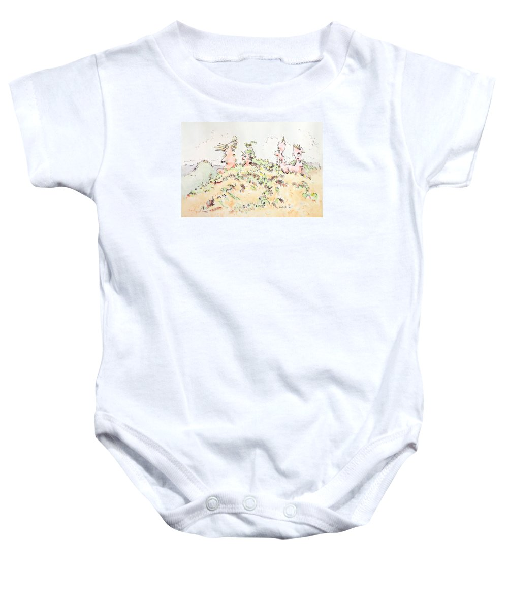 Angel Baby Onesie featuring the painting My Guardians by Dave Martsolf