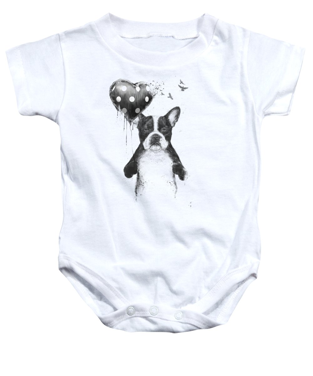 Bulldog Baby Onesie featuring the mixed media My heart goes boom by Balazs Solti
