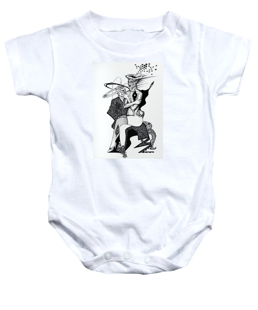 Love Baby Onesie featuring the drawing My Shadow And I by Yelena Tylkina