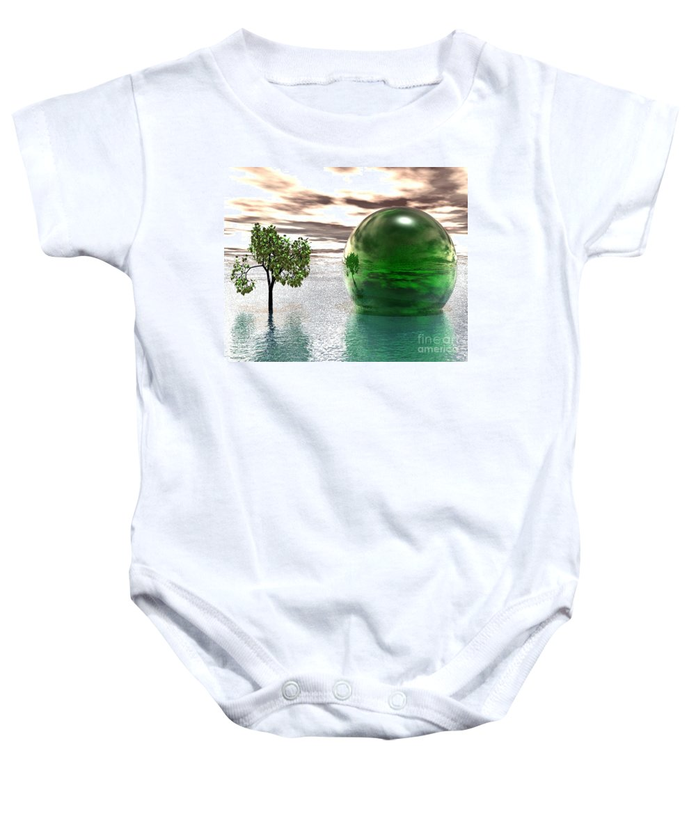 Surreal Baby Onesie featuring the digital art Mystic Surreal In Green by Oscar Basurto Carbonell