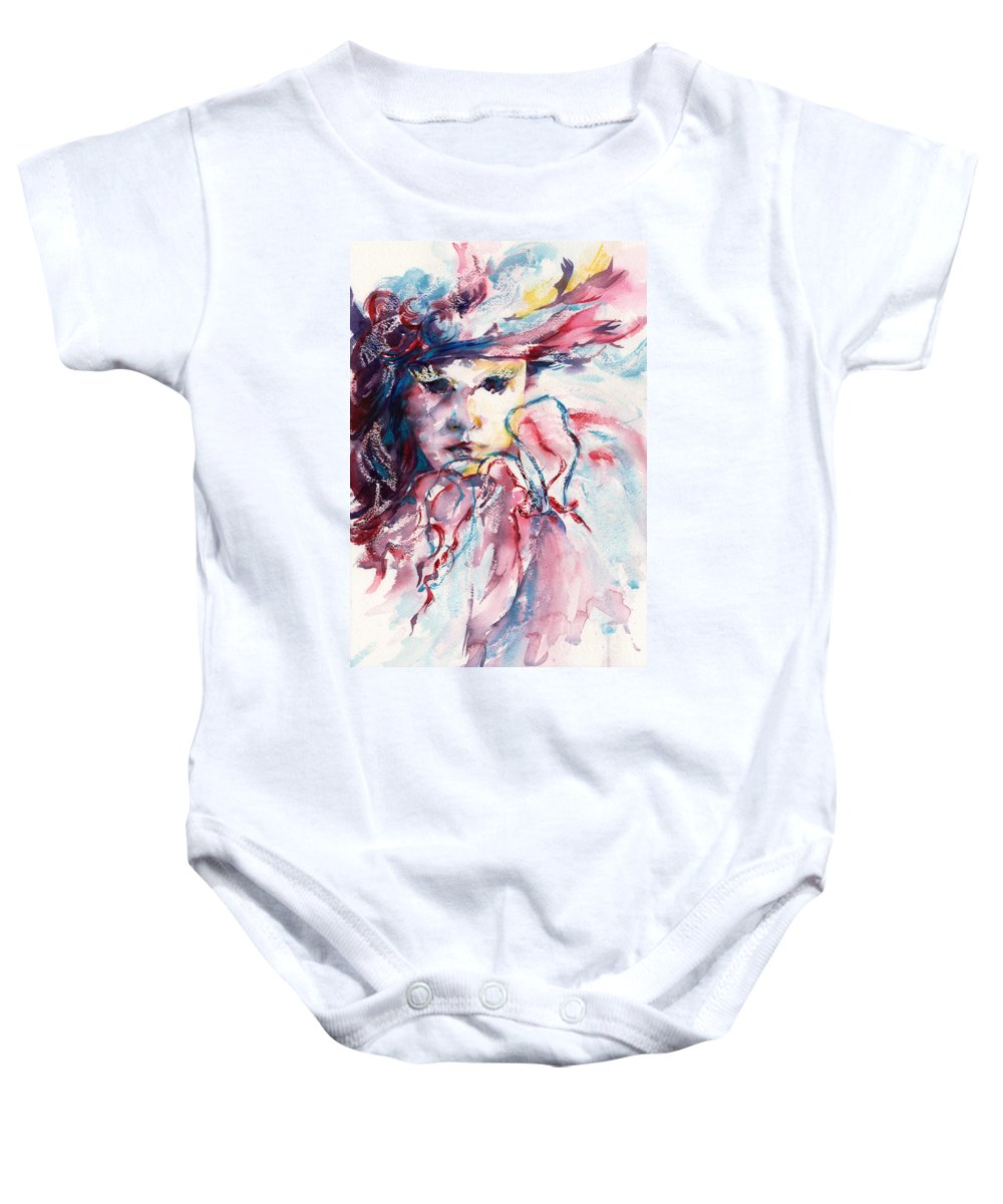 Mask Baby Onesie featuring the painting Mystique by Stephie Butler