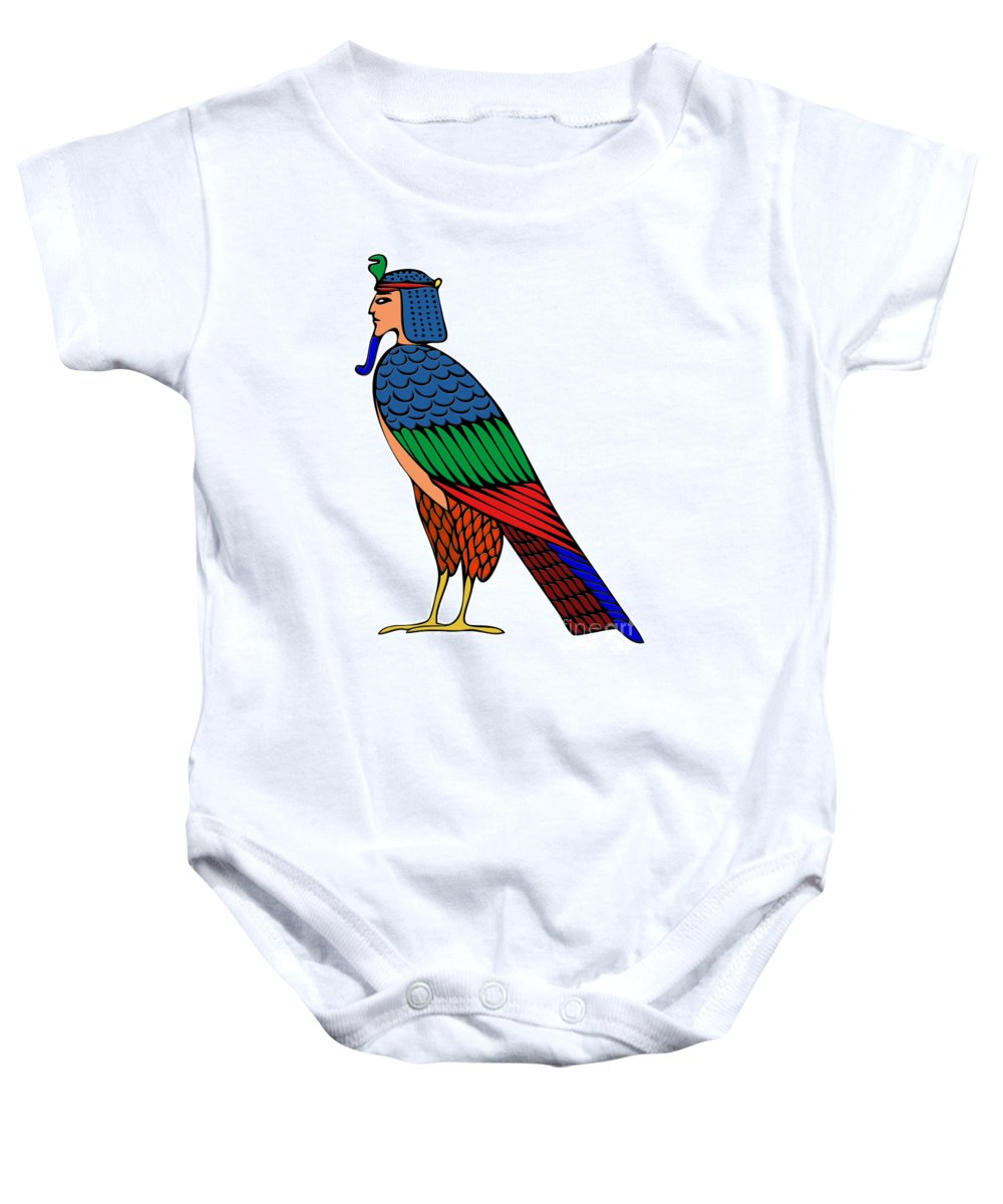 Bird Of Souls Baby Onesie featuring the digital art mythical creature of ancient Egypt by Michal Boubin