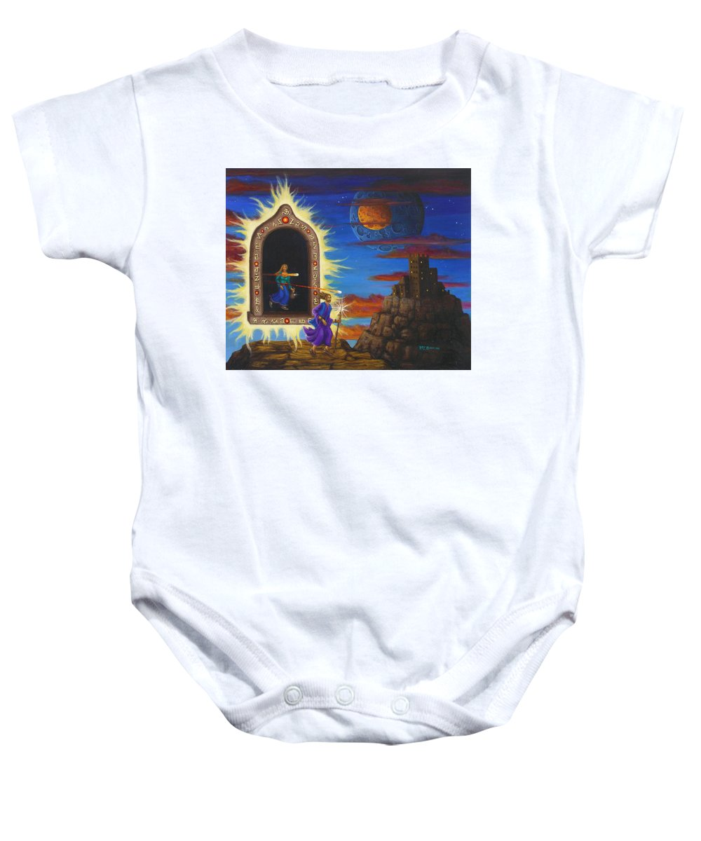 Fantasy Baby Onesie featuring the painting Narrow Escape by Roz Eve