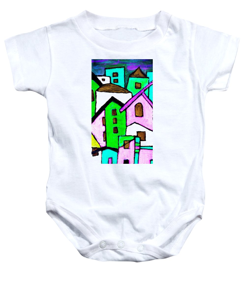 Village Baby Onesie featuring the painting Narrow Village by Wayne Potrafka