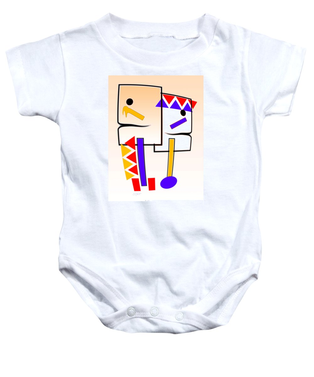 Native American Baby Onesie featuring the painting Native American Design by Charles Stuart
