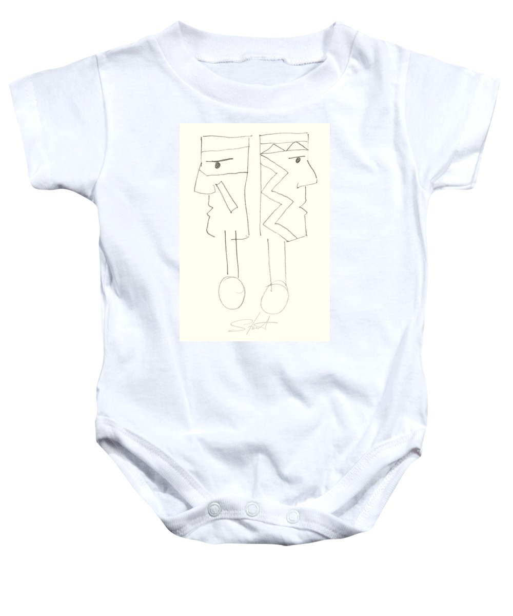Native Americans Baby Onesie featuring the painting Native Americans Drawing by Charles Stuart