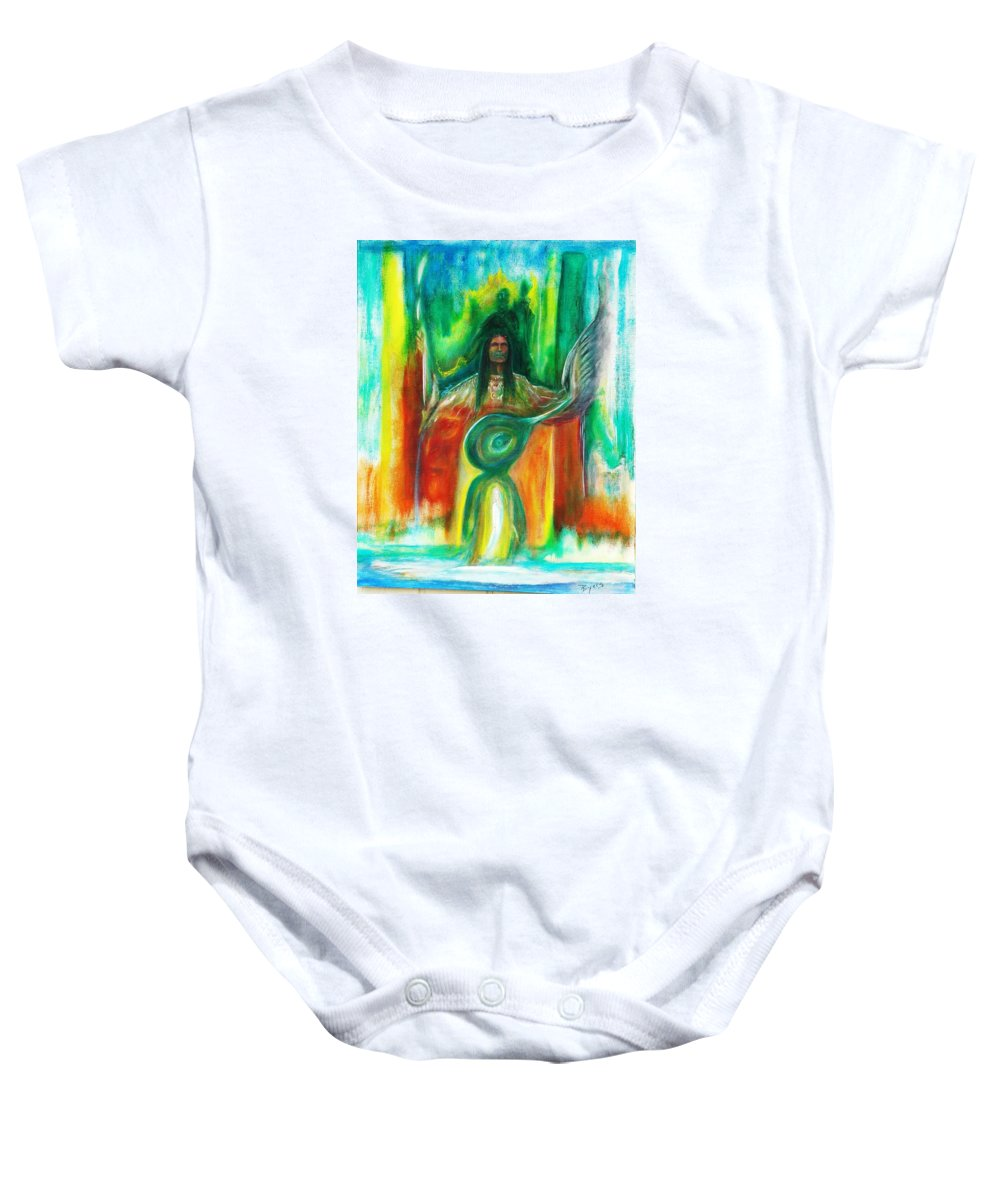 Native American Baby Onesie featuring the painting Native Awakenings by Kicking Bear Productions