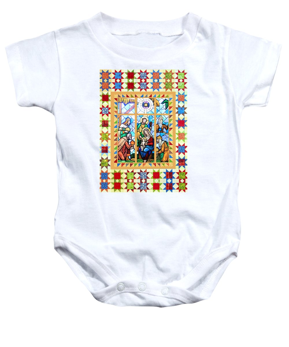 Stained Glass Baby Onesie featuring the photograph Nativity Stars by Munir Alawi