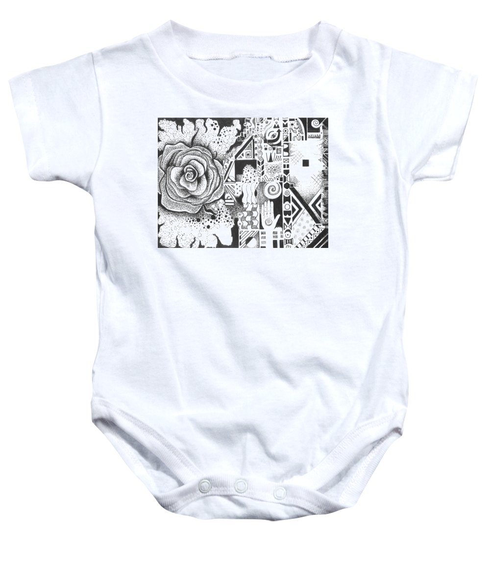Abstract Baby Onesie featuring the drawing Nature Rules Aka That Which Remains by Helena Tiainen