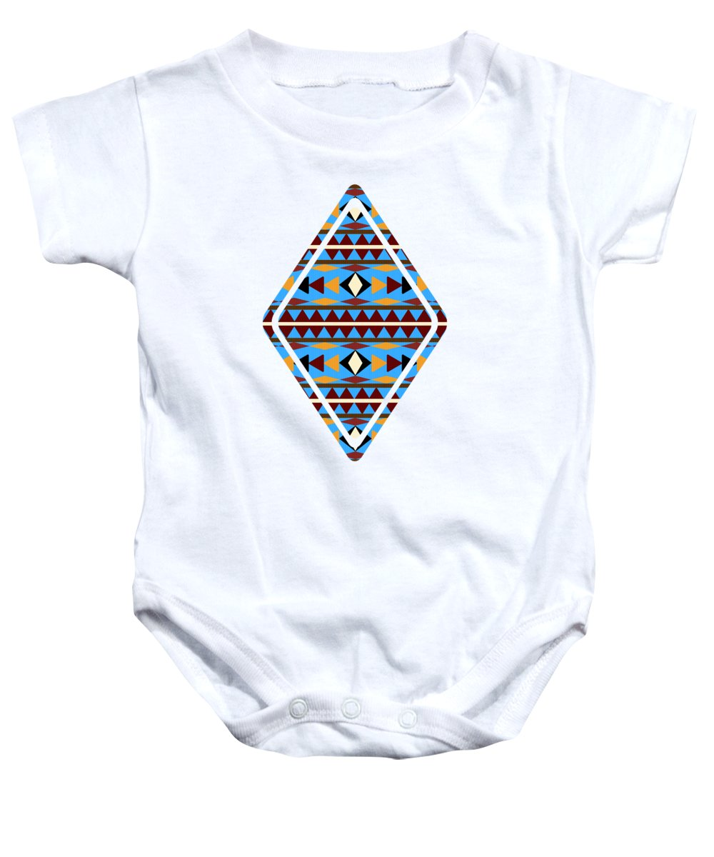 Navajo Baby Onesie featuring the mixed media Navajo Blue Pattern Art by Christina Rollo