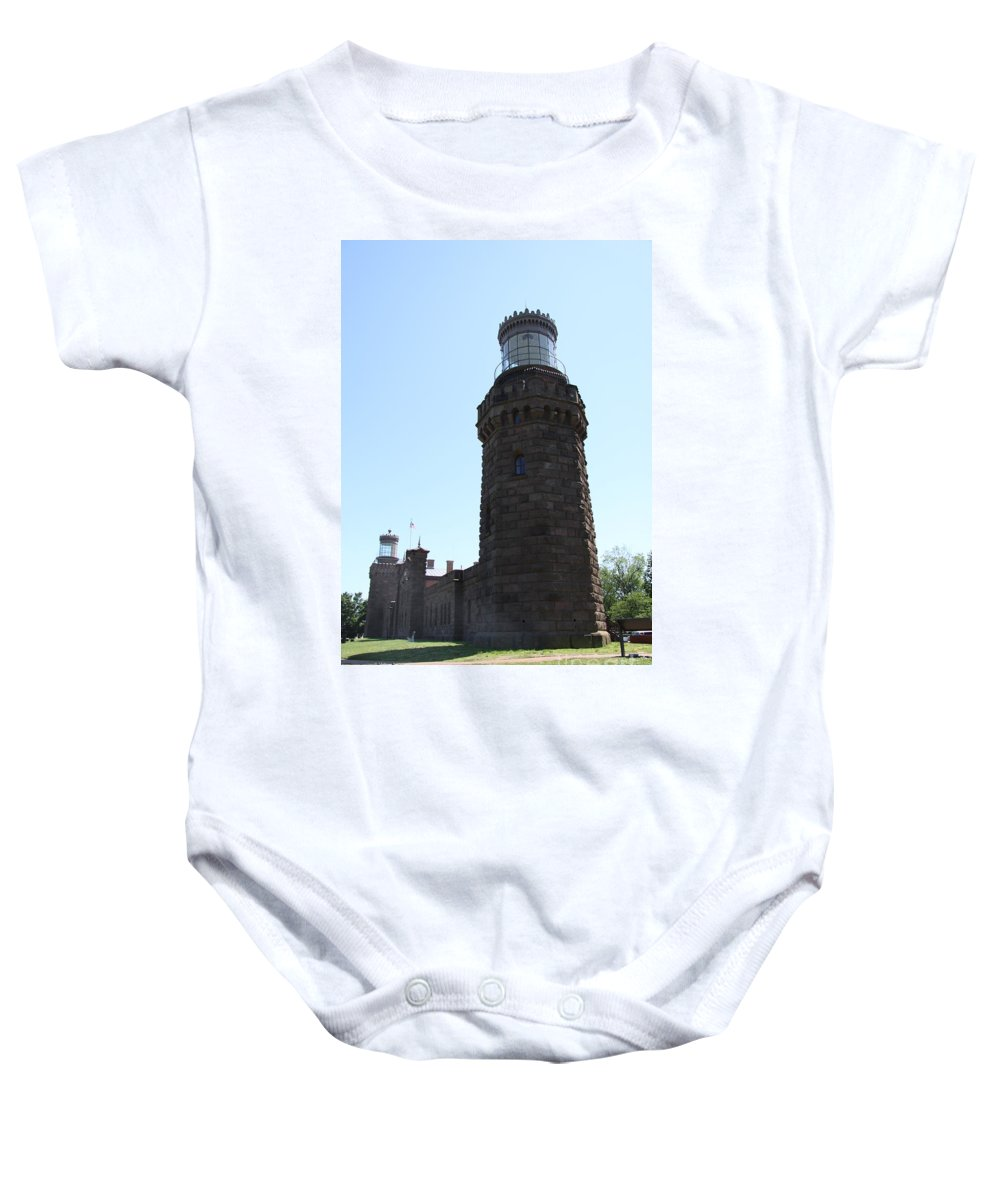Navesink Twinlight Baby Onesie featuring the photograph Navesink Twinlights by Christiane Schulze Art And Photography